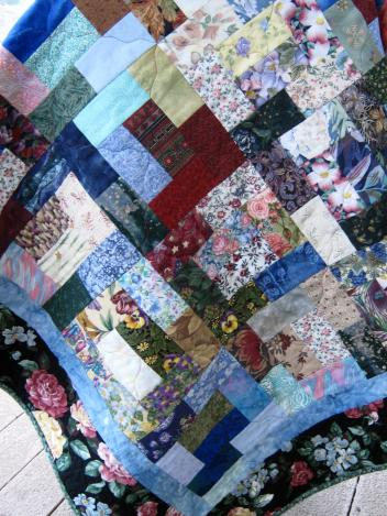 Mutti-Colored Scrap Quilt With Flannel Back